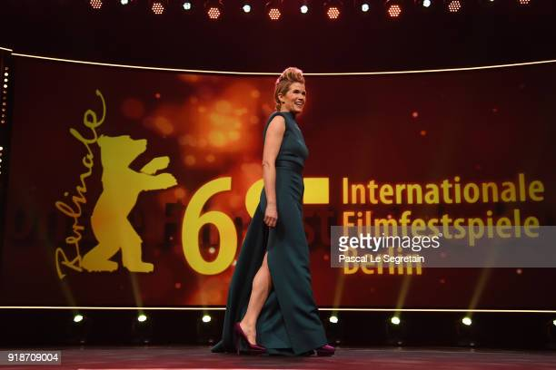 Host Anke Engelke is seen on stage at the Opening Ceremony 'Isle of Dogs' premiere during the 68th Berlinale International Film Festival Berlin at...