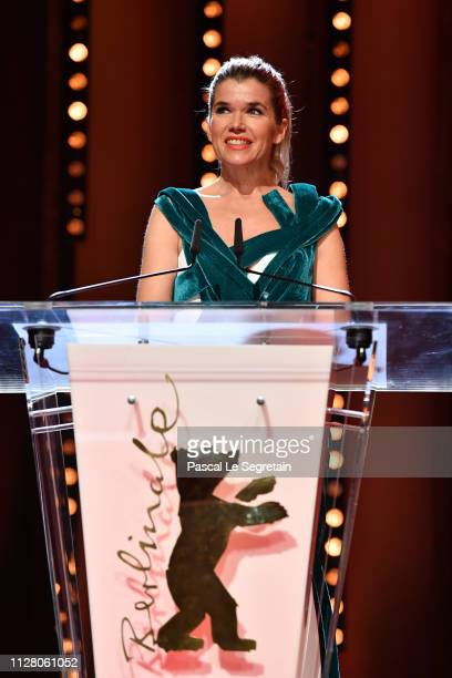 Host Anke Engelke speaks on stage at the opening ceremony and 'The Kindness Of Strangers' premiere during the 69th Berlinale International Film...