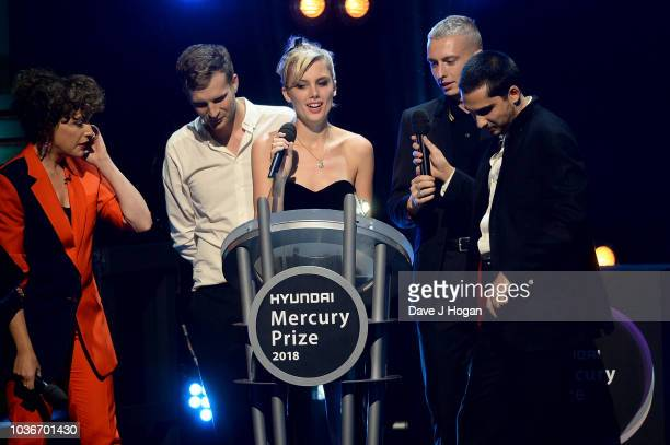 Host Annie Mac with winners of the Hyundai Mercury Prize 2018 ÔAlbum of the YearÕ Joff Oddie Ellie Rowsell Theo Ellis and Joel Amey of Wolf Alice at...