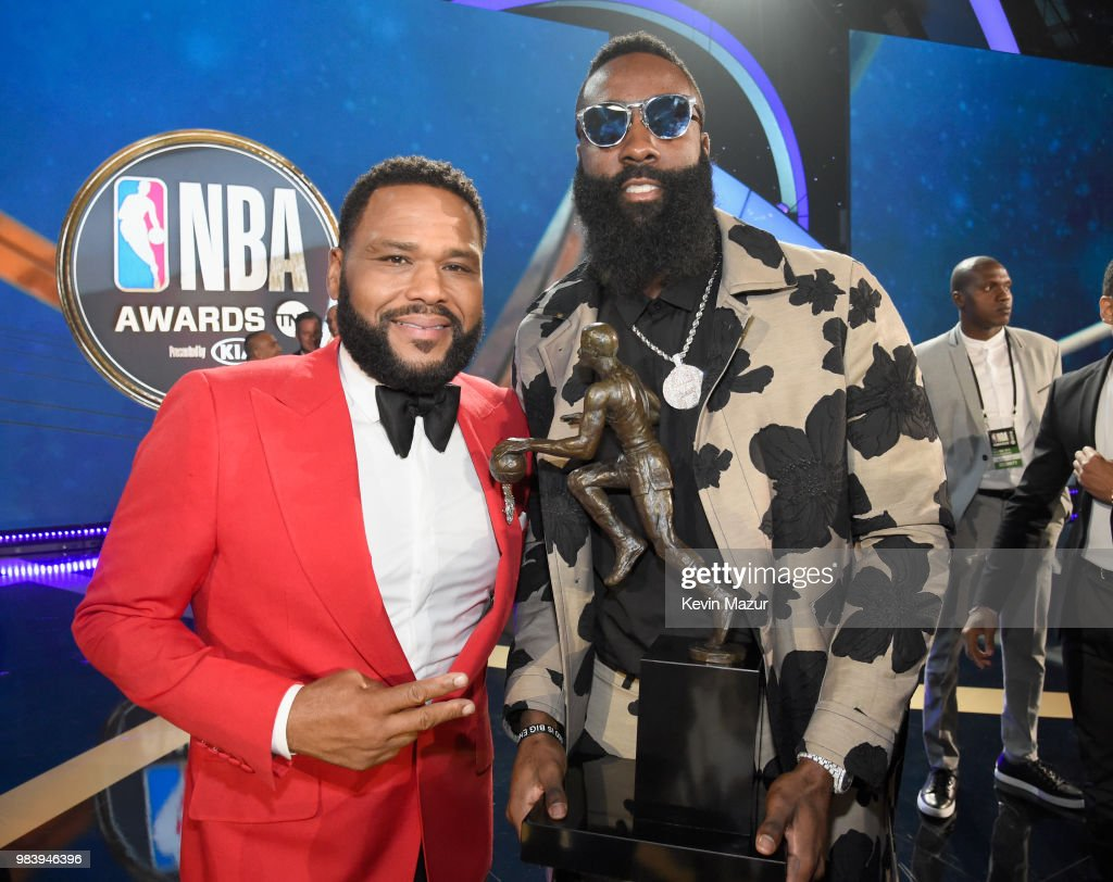 Host Anthony Anderson (L) and MVP recipient James Harden attend the 2018 NBA Awards at Barkar Hangar on June 25, 2018 in Santa Monica, California.