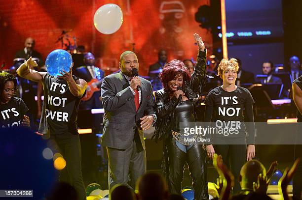Host Anthony Anderson and singer Chaka Khan onstage during UNCF's 33rd Annual An Evening Of Stars held at Pasadena Civic Auditorium on December 1...