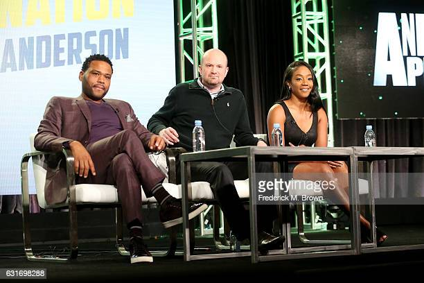 Host Anthony Anderson executive producer Brian VolkWeiss and cohost Tiffany Haddish of 'Animal Nation' speak onstage during the Animal Planet portion...
