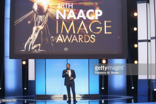 Host Anthony Anderson onstage at the 48th NAACP Image Awards at Pasadena Civic Auditorium on February 11 2017 in Pasadena California