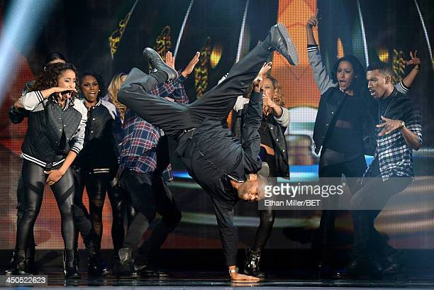 Host Anthony Anderson performs onstage at the Soul Train Awards 2013 at the Orleans Arena on November 8 2013 in Las Vegas Nevada