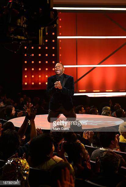 Host Anthony Anderson speaks onstage during UNCF's 33rd annual An Evening Of Stars held at Pasadena Civic Auditorium on December 1 2012 in Pasadena...