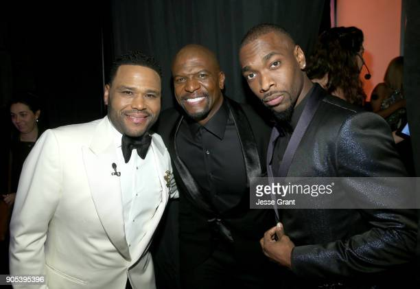 Host Anthony Anderson Terry Crews and Jay Pharoah attend the 49th NAACP Image Awards at Pasadena Civic Auditorium on January 15 2018 in Pasadena...