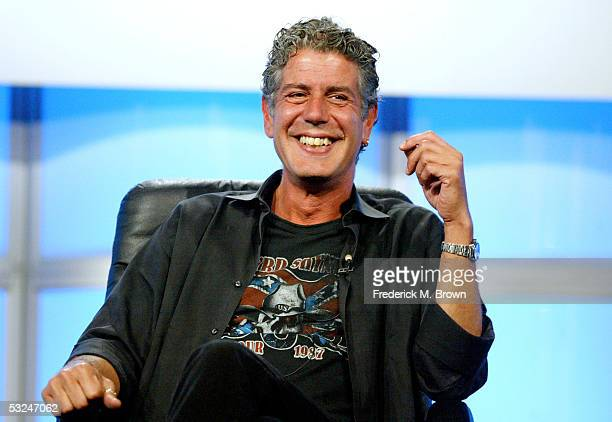 Host Anthony Bourdain attends the panel discussion for 'Anthony Bourdain No Reservations' during the Discovery Networks' Travel Channel presentation...
