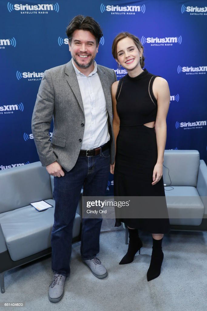 Host Anthony Breznican (L) and actress Emma Watson pose during SiriusXM's 'Town Hall' with Emma Watson; 'Town Hall' to air on Entertainment Weekly Radio on March 10, 2017 in New York City.