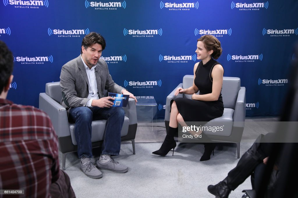 Host Anthony Breznican (L) and actress Emma Watson speak during SiriusXM's 'Town Hall' with Emma Watson; 'Town Hall' to air on Entertainment Weekly Radio on March 10, 2017 in New York City.