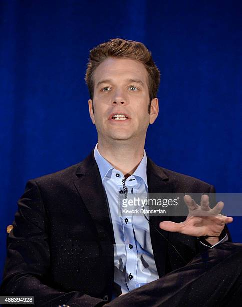Host Anthony Jeselnik speaks during a panel discussion of reality television talent show 'Last Comic Standing' at the NBCUniversal Summer Press Day...