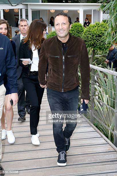 Host Arthur Essebag and Mareva Galanter attend Day Fifteen Men single's Final of the 2016 French Tennis Open at Roland Garros on June 5 2016 in Paris...