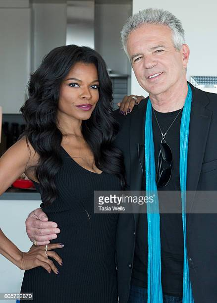 Host Ashley Berges and actor Anthony Denison pose for portrait on the set of The Celebrity Perspective on September 14 2016 in North Hollywood...