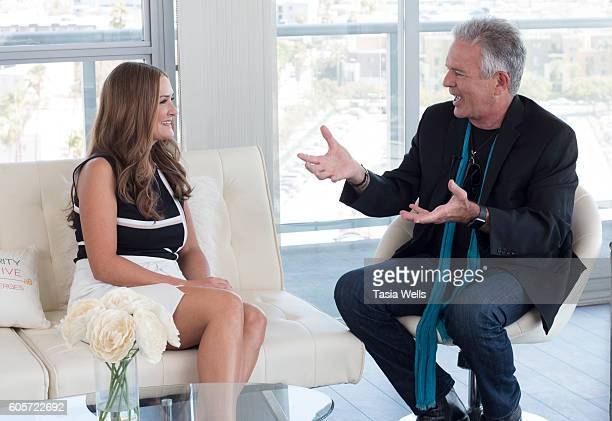 Host Ashley Berges interviews actor Anthony Denison on the set of The Celebrity Perspective on September 14 2016 in North Hollywood California