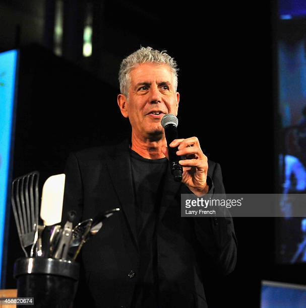 Host Athony Bourdain speaks on stage during the DC Central Kitchen's Capital Food Fight event at Ronald Reagan Building on November 11 2014 in...