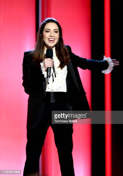 Host Aubrey Plaza speaks onstage during the 2019 Film Independent Spirit Awards on February 23, 2019 in Santa Monica, California.