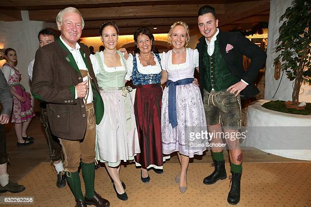 Host Balthasar Hauser Elisabeth Hauser Magdalena Hauser Maria Hauser and Andreas Gabalier during the Weisswurstparty at Hotel Stanglwirt on January...