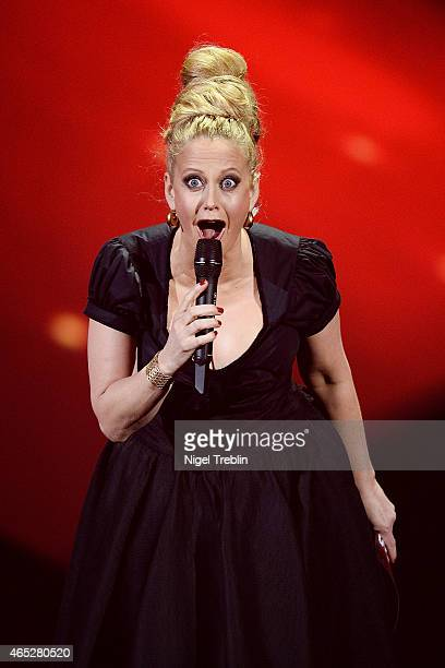 Host Barbara Schoeneberger performs during the finals of the TV show 'Our Star For Austria' on March 5 2015 in Hanover Germany 'Our Star For Austria'...