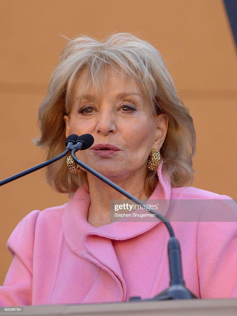 TV Host Barbara Walters speaks at the 2008 Disney Legends Ceremony at the Walt Disney Studios on October 13, 2008 in Burbank, California.