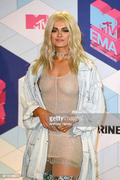 Host Bebe Rexha poses in the winner's room during the MTV Europe Music Awards 2016 on November 6 2016 in Rotterdam Netherlands