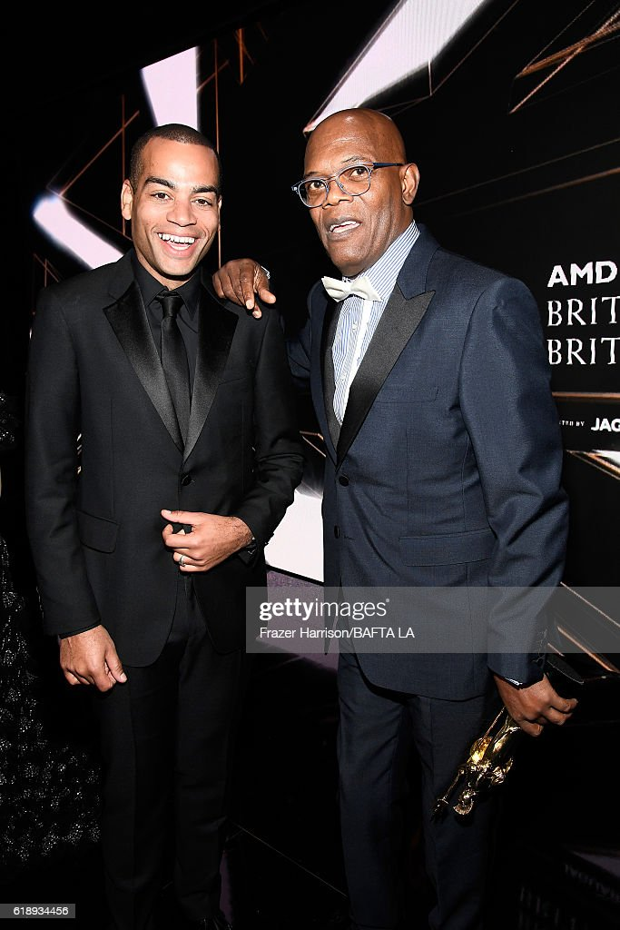 Host Ben 'Doc Brown' Smith (L) and Samuel L. Jackson, recipient of the Albert R. Broccoli Britannia Award for Worldwide Contribution to Entertainment, attend the 2016 AMD British Academy Britannia Awards presented by Jaguar Land Rover and American Airlines at The Beverly Hilton Hotel on October 28, 2016 in Beverly Hills, California.