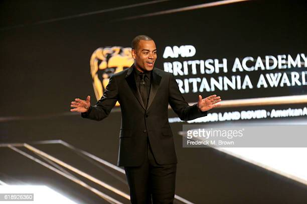 Host Ben 'Doc Brown' Smith speaks onstage during the 2016 AMD British Academy Britannia Awards presented by Jaguar Land Rover and American Airlines...