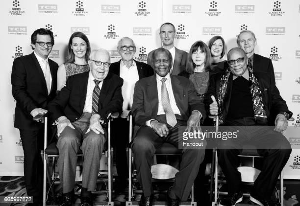 TCM host Ben Mankiewicz general manager of TCM Jennifer Dorian producer Walter Mirisch director Norman Jewison actor Sidney Poitier SVP of...