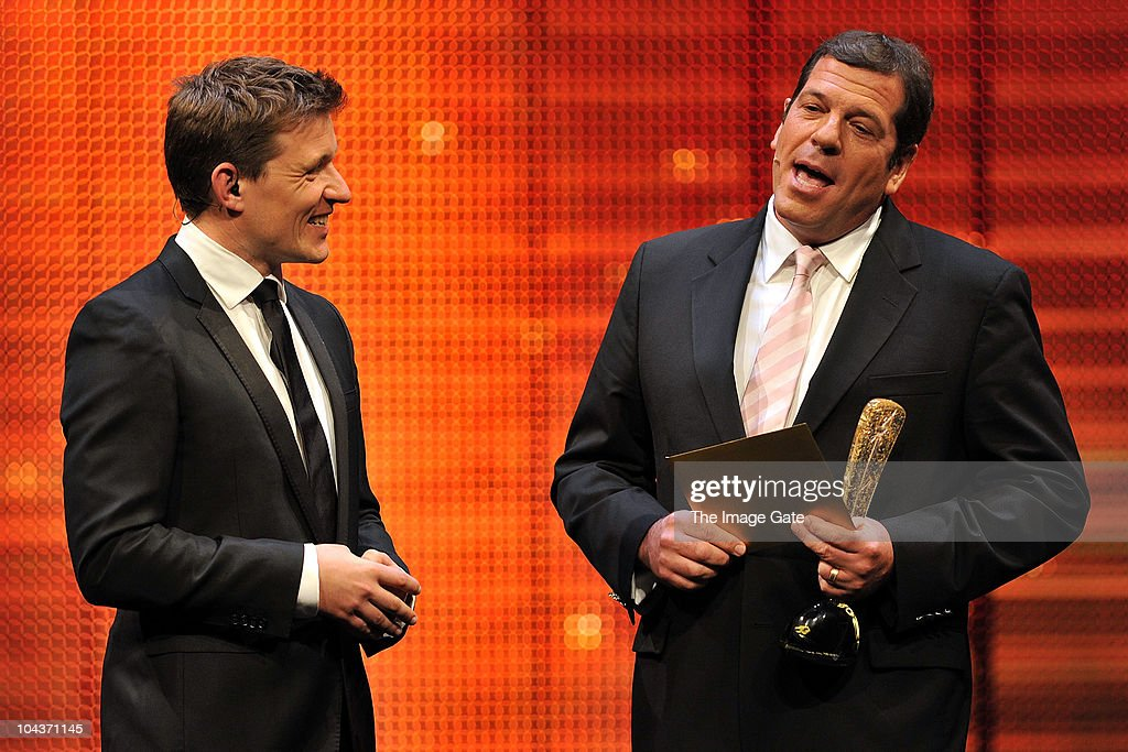 Host Ben Shephard looks on as Tim Crescenti presents reality and factual entertainment award during the 50th Rose d'Or Television Festival Award Ceremony on September 22, 2010 in Lucerne, Switzerland.