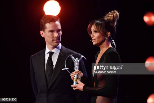 Host Benedict Cumberbatch and Cohost Kate Abdo on stage during the 2018 Laureus World Sports Awards show at Salle des Etoiles Sporting MonteCarlo on...