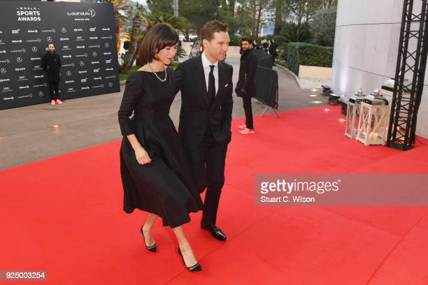 Host Benedict Cumberbatch and Sophie Hunter attend the 2018 Laureus World Sports Awards at Salle des Etoiles Sporting MonteCarlo on February 27 2018...