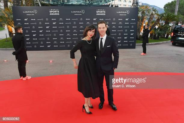 Host Benedict Cumberbatch and Sophie Hunter attends the 2018 Laureus World Sports Awards at Salle des Etoiles Sporting MonteCarlo on February 27 2018...