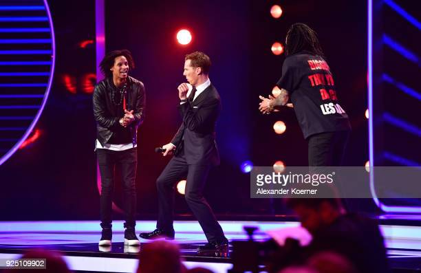 Host Benedict Cumberbatch dances on stage during the 2018 Laureus World Sports Awards show at Salle des Etoiles Sporting MonteCarlo on February 27...