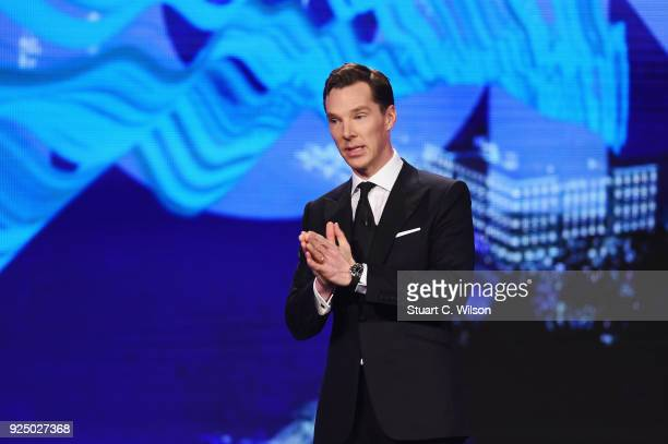 Host Benedict Cumberbatch on stage during the 2018 Laureus World Sports Awards show at Salle des Etoiles Sporting MonteCarlo on February 27 2018 in...