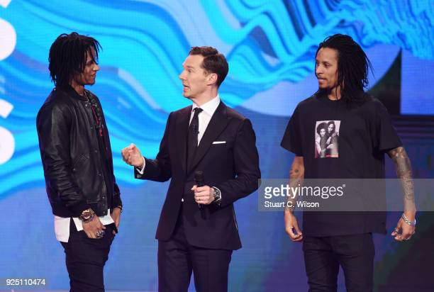 Host Benedict Cumberbatch with dancers on stage during the 2018 Laureus World Sports Awards show at Salle des Etoiles Sporting MonteCarlo on February...