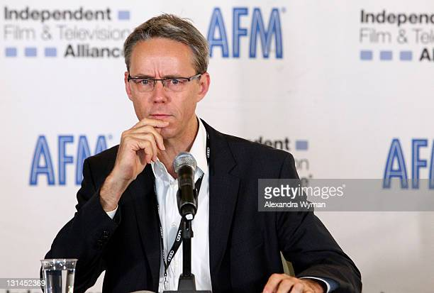 Host Bertrand Moullier Naval Conseil FIAPF Senior Expert for International Affairs speaks onstage during the 2011 American Film Market Day 3 The...