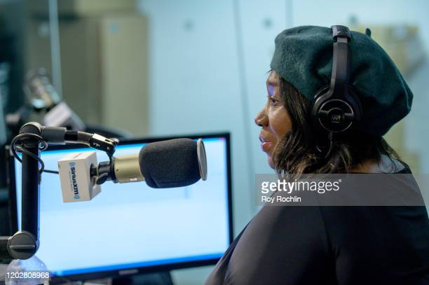 Host Bevy Smith as Karamo Brown visits SiriusXM Studios on January 29 2020 in New York City