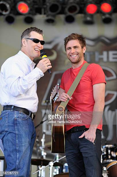 Host Bill Cody and musician Canaan Smith speak onstage during the ACM Experience at the Mandalay Bay Resort Casino on April 1 2012 in Las Vegas Nevada