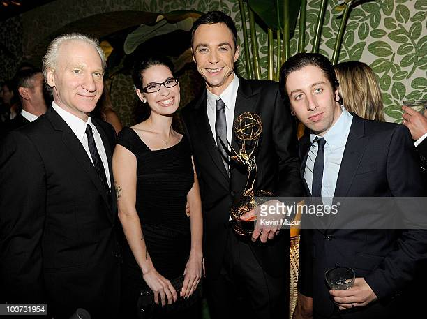 TV Host Bill Maher Cara Santa Maria actor Jim Parsons and Simon Helberg attend HBO after party for the 62nd Primetime Emmy Awards at Pacific Design...