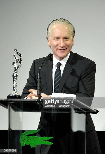 TV host Bill Maher speaks onstage at the 13th Annual Costume Designers Guild Awards with presenting sponsor Lacoste held at The Beverly Hilton hotel...