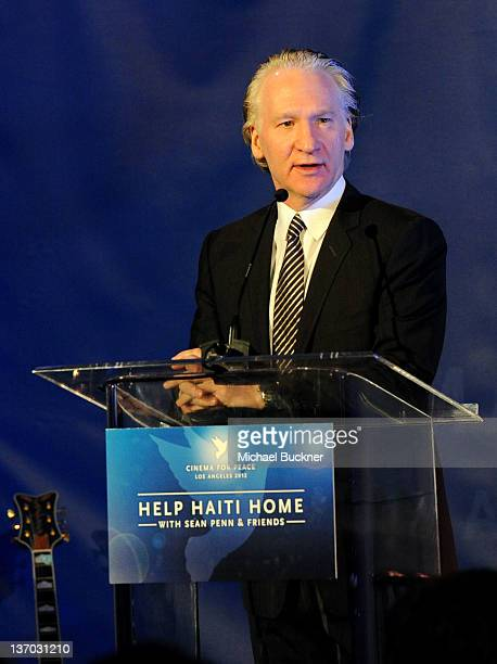 Host Bill Maher speaks onstage at the Cinema For Peace event benefitting J/P Haitian Relief Organization in Los Angeles held at Montage Hotel on...