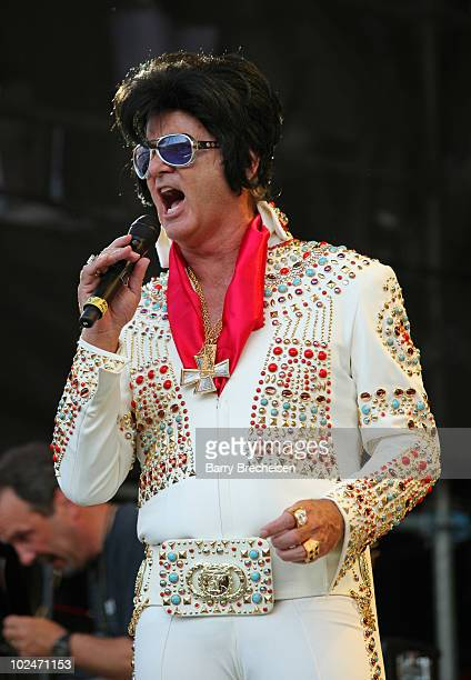 Host Bill Murray as Elvis Presely performs onstage during the 2010 Crossroads Guitar Festival at Toyota Park on June 26 2010 in Bridgeview Illinois