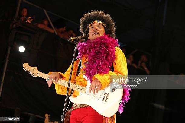 Host Bill Murray as Jimi Hendrix onstage during the 2010 Crossroads Guitar Festival at Toyota Park on June 26 2010 in Bridgeview Illinois