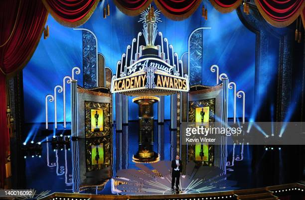 Host Billy Crystal speaks onstage during the 84th Annual Academy Awards held at the Hollywood & Highland Center on February 26, 2012 in Hollywood,...