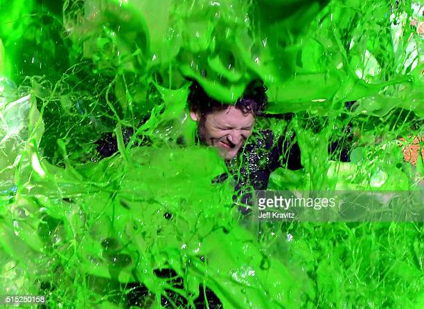 Host Blake Shelton gets slimed onstage during Nickelodeon's 2016 Kids' Choice Awards at The Forum on March 12 2016 in Inglewood California