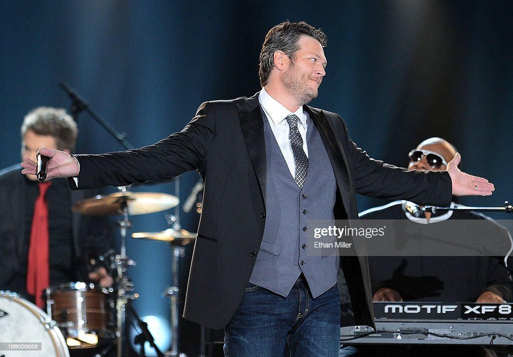 Host Blake Shelton performs onstage during the 48th Annual Academy of Country Music Awards at the MGM Grand Garden Arena on April 7, 2013 in Las Vegas, Nevada.