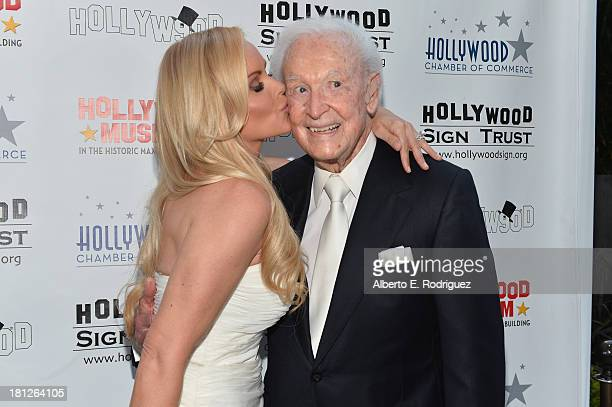 TV host Bob Barker and actress Gena Lee Nolin attend The Hollywood Chamber of Commerce The Hollywood Sign Trust's 90th Celebration of the Hollywood...