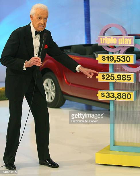 Host Bob Barker speaks during the taping of a final primetime special of The Price Is Right at CBS Television City on April 17 2007 in Los Angeles...