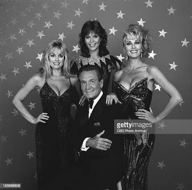 RIGHT host Bob Barker surrounded by the game show models from left Dian Parkinson Holly Halstrom and Janice Pennington Image Dated July 1 1986