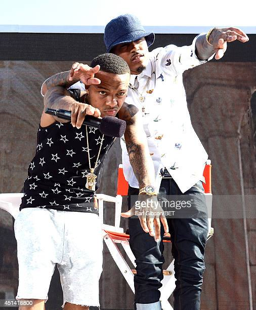 Host Bow Wow and singer August Alsina speak onstage at the 106 Park Live Presented By Coca Cola during the 2014 BET Experience at LA LIVE on June 28...