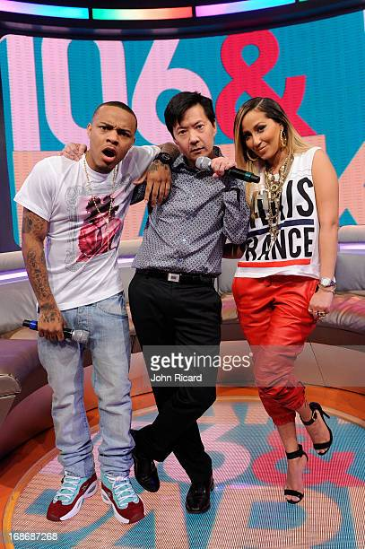 Host Bow Wow with Ken Jeong and Adrienne Bailon at BET's '106 Park' at BET Studios on May 13 2013 in New York City