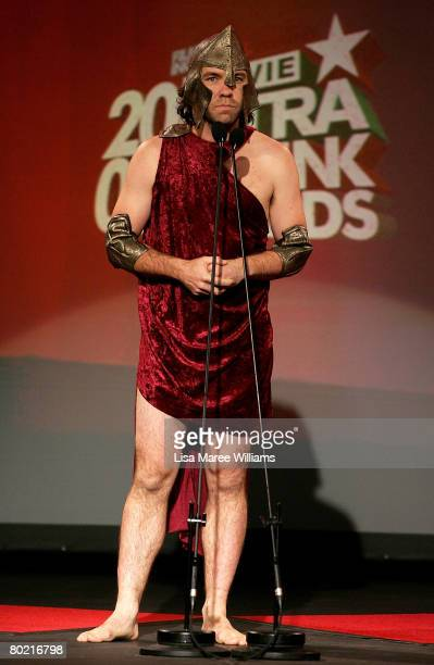 Host Brendan Cowell dressed as a gladiator appears on stage at the 2008 Movie Extra FilmInk Awards at the State Theatre on March 12 2008 in Sydney...